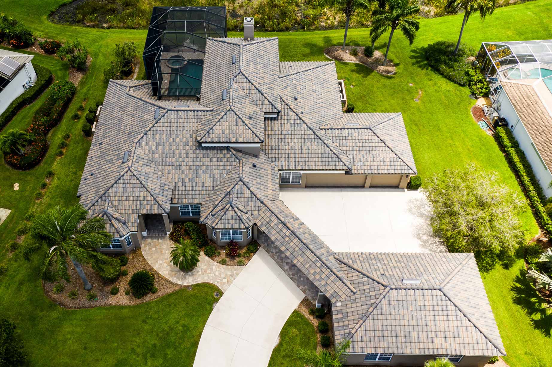 Aerial image of tiled roof